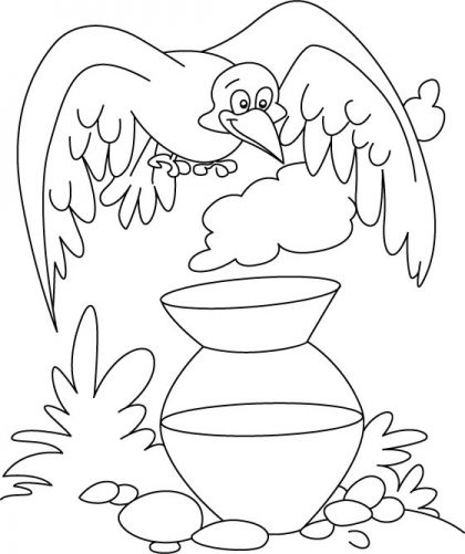 A Thirsty Crow Coloring Page With Images Crow Pictures