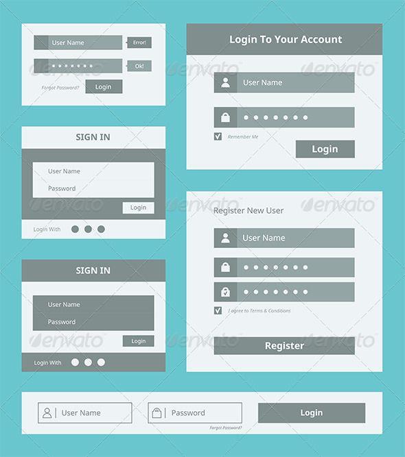 User Interface Form Set   Form design, Registration form and User ...