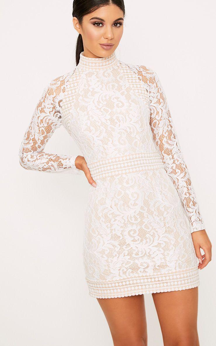 Isobel White Lace High Neck Bodycon Dress High Neck Bodycon Dress Bodycon Dress Lace White Dress [ 1180 x 740 Pixel ]