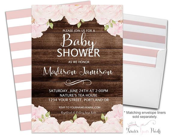 rustic floral baby shower invitation - rustic baby shower, Baby shower invitations