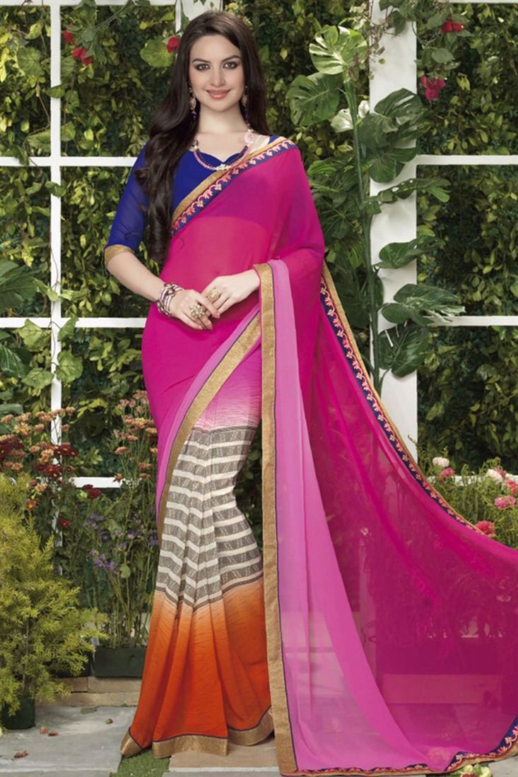 f1d9d358be693d Pink And Orange Color Printed Party Wear Saree   Party Wear Sarees ...