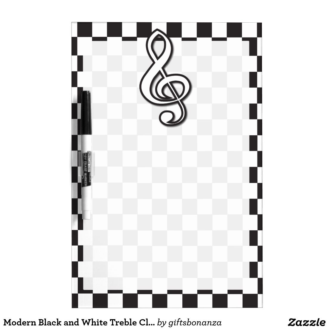 Modern Black and White Treble Clef on Checkerboard Dry
