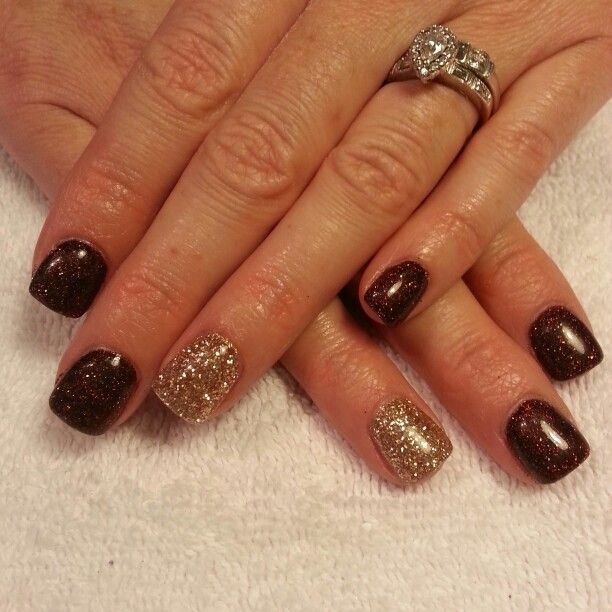 brown and gold glitter gel nails