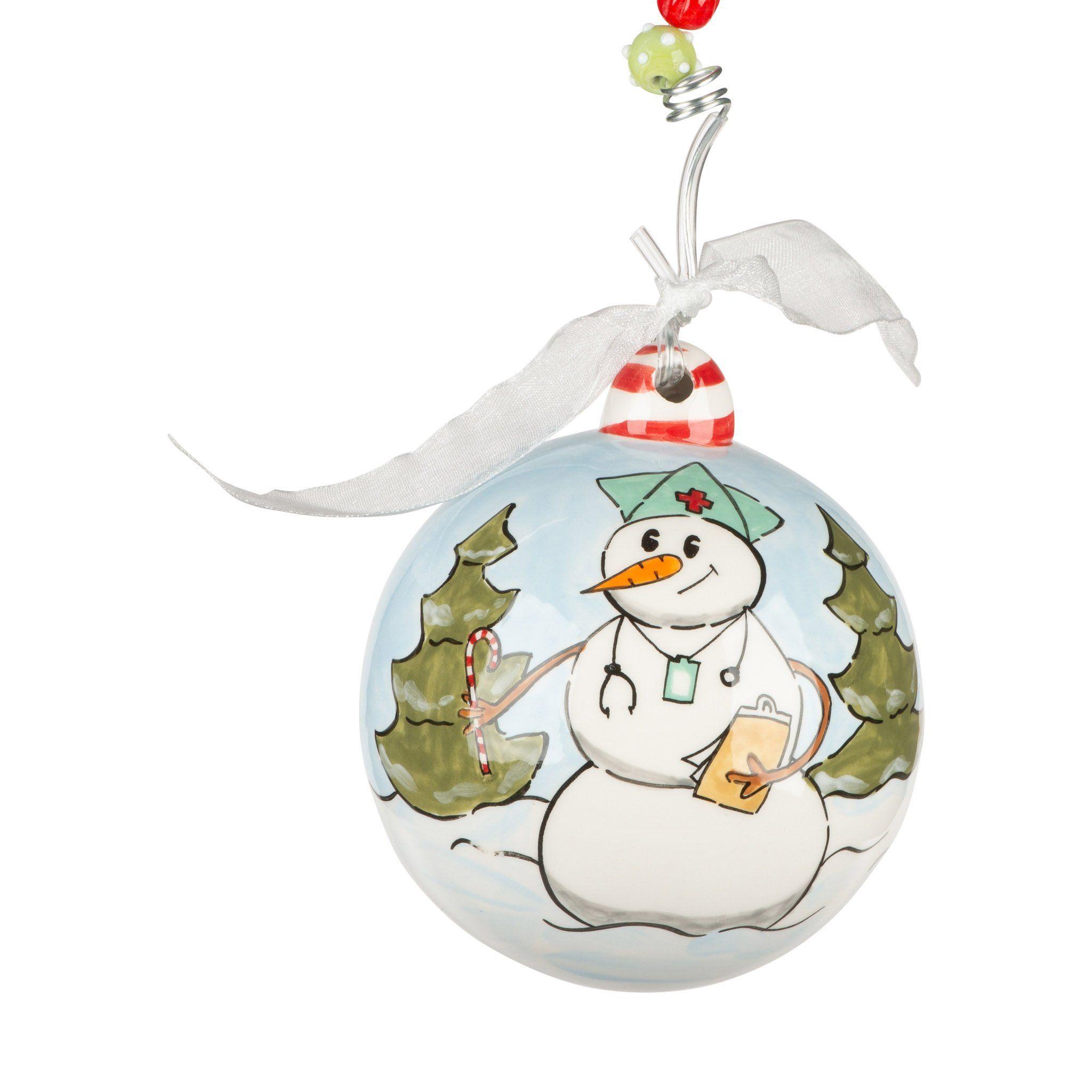 Nurse Snowman Ornament Hand Painted Ornaments Painted Christmas Ornaments Wood Christmas Ornaments