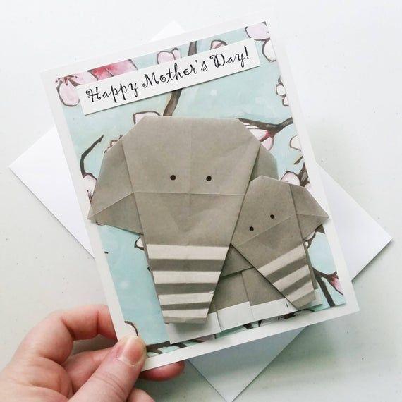 Photo of Muttertagskarte: Origami Elefantenkarte – werdende Mutter Muttertagskarte – glücklicher Muttertag – werdende Mutter – Mutter und Baby – neue Mutter