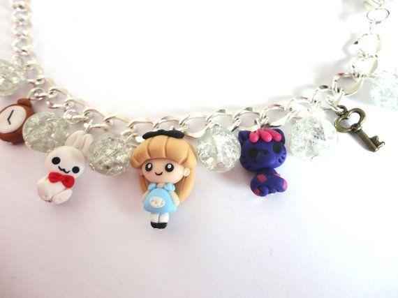 Alice im Wunderland Armband in Fimo Perlen von AudreyPinkStyle