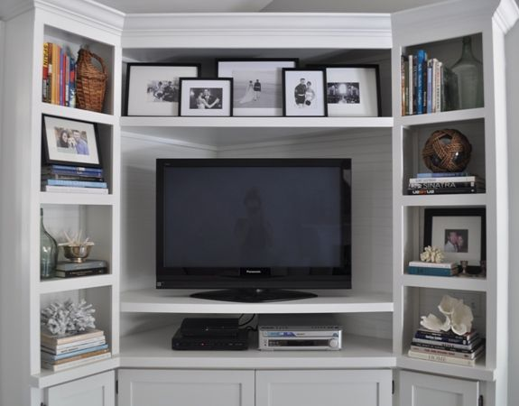 Before After My Corner Built Ins Bungalow Blue Interiors In 2020 Built In Tv Cabinet Corner Tv Cabinets Decor Around Tv