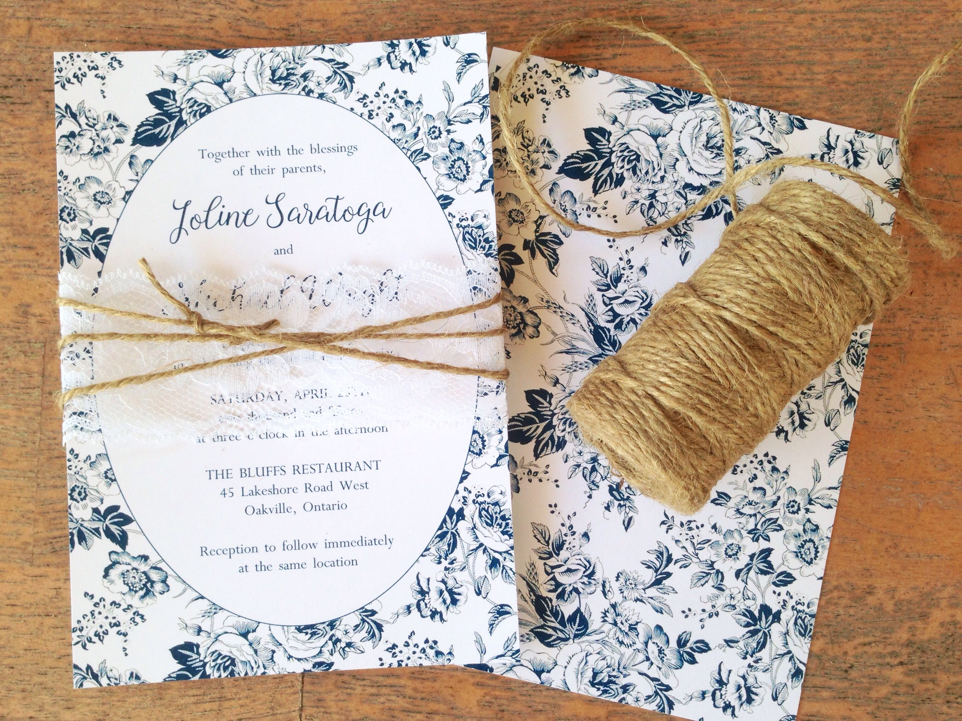 French Toile Country Garden Wedding Invitation Dusty Blue Rose And Twine Www Polkadotinvites