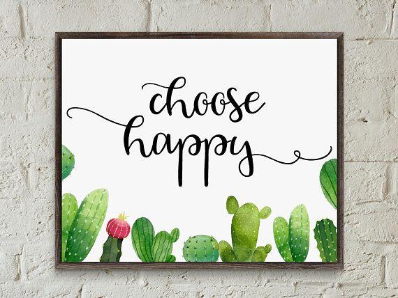 Choose Happy Print Wall Art Choose Happy Sign Motivational
