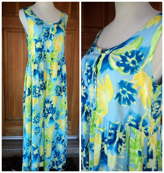 Vintage 90s Maxi Dress Bright Floral Baby by caligodessvintage