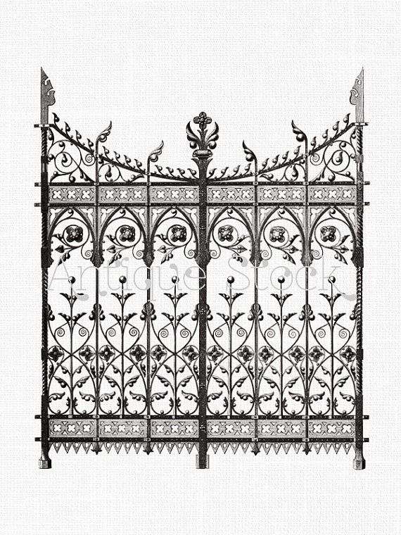 Clipart \'Wrought Iron Gate\' Digital Download PNG Image for Transfers ...