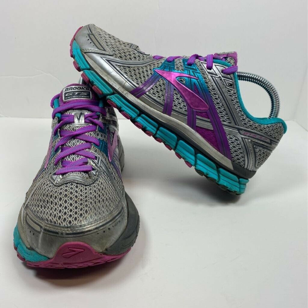 Brooks Womens Adrenaline Gts 17 Running Shoes Silver Low Top Lace Up Mesh 8 B In 2020 Silver Shoes Purple Sneakers Running Shoes