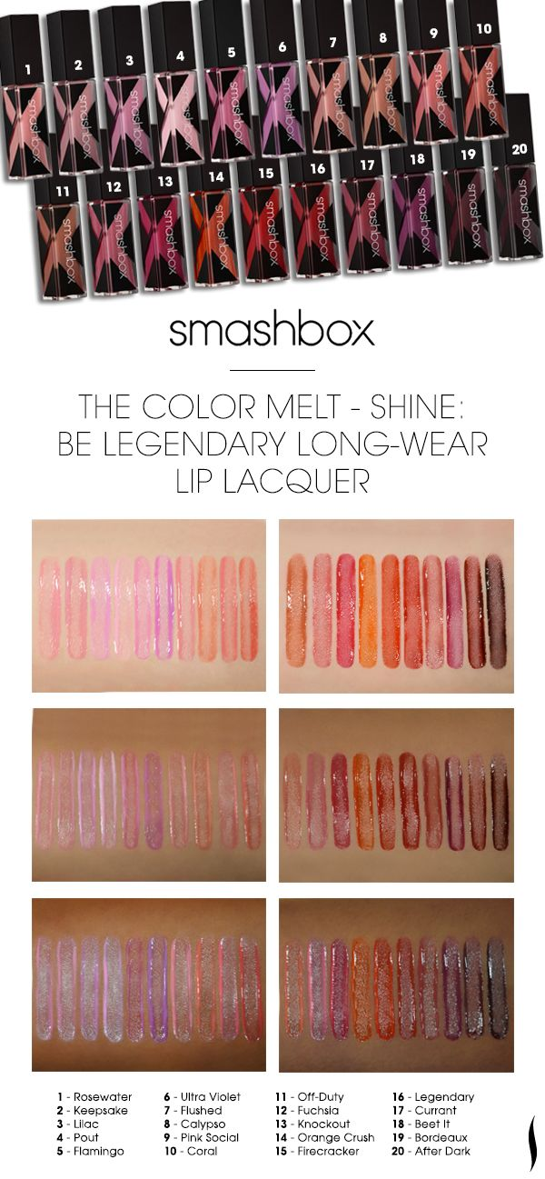Smashbox | All Brands color charts | Pinterest | Lip lacquer ...