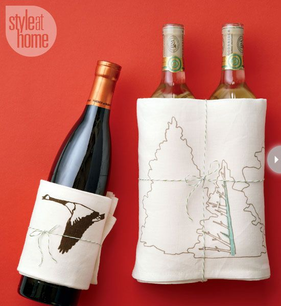 how to wrap a wine bottle with a tea towel