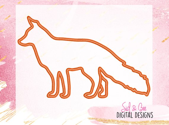 Fox Applique Fox Silhouette Applique Design Fox Embroidery Wild