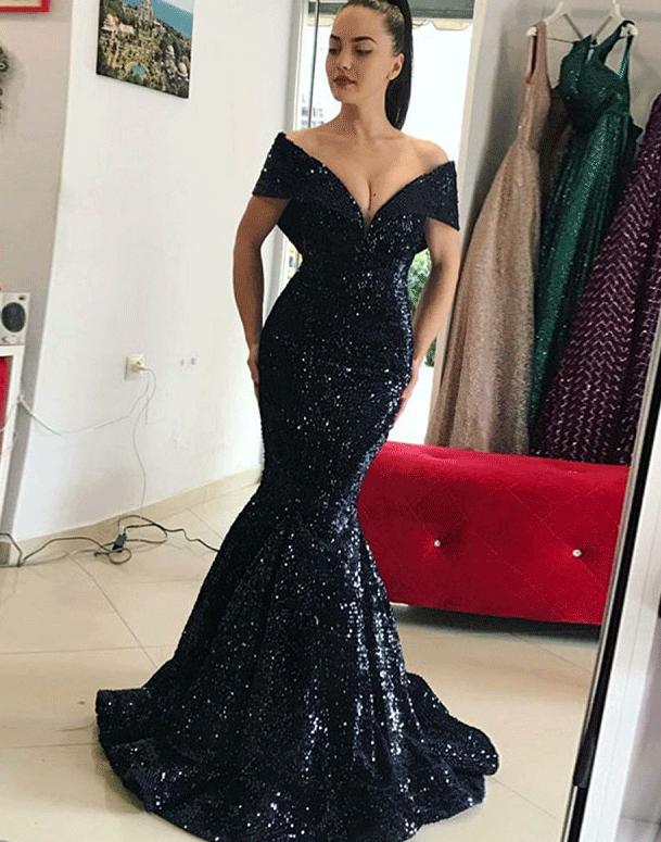 c21cf48cbae 2019 的 Mermaid Off the Shoulder Sweep Train Black Sequin Prom 主题 ...