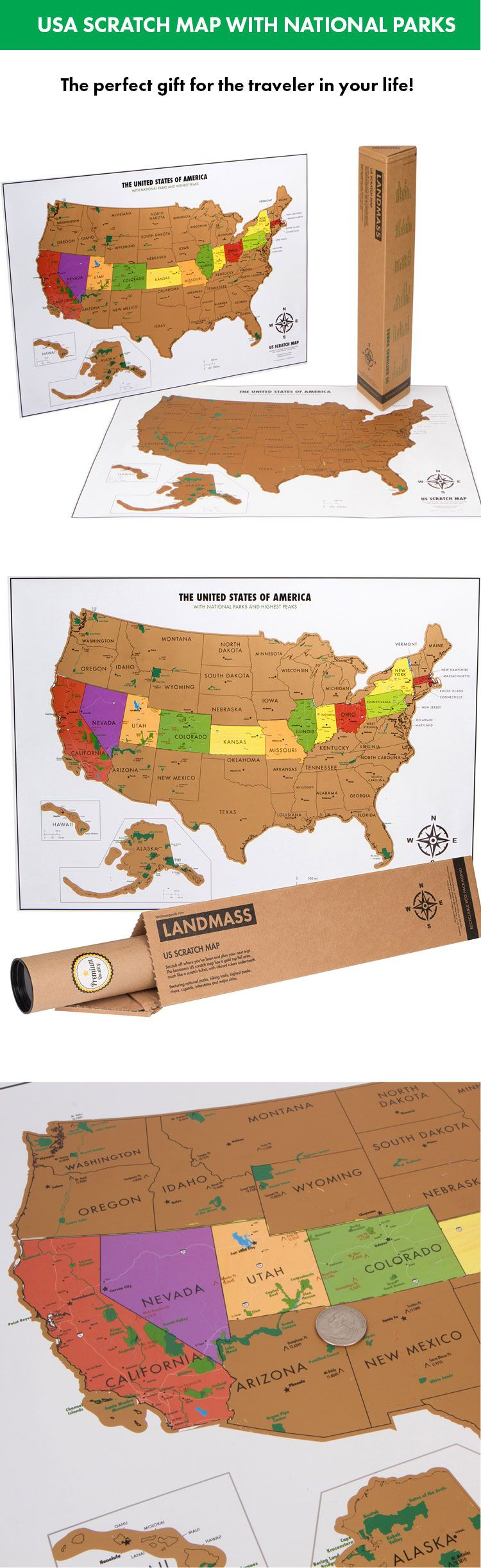 Scratch Off USA Map With National Parks Travel Tracker Map - Map of national parks in united states