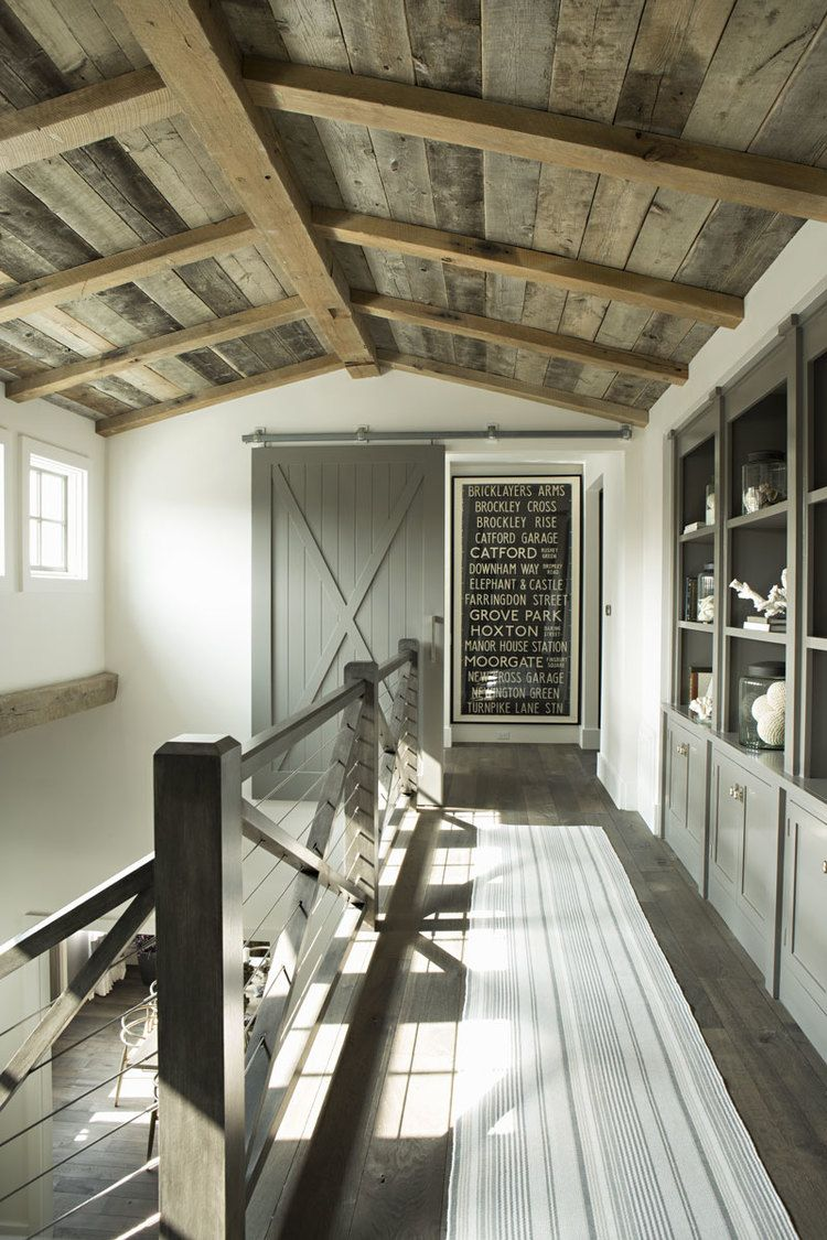 Upstairs hallway - farmhouse barnwood vaulted ceiling - staircase