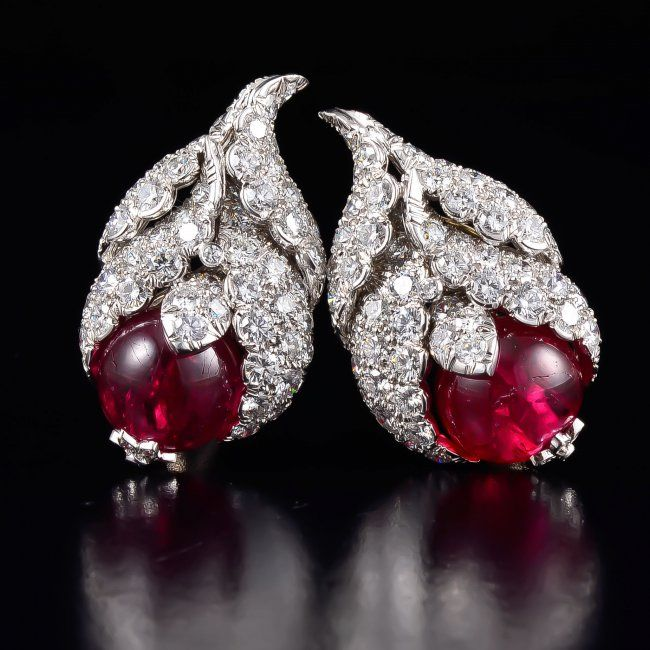David Webb platinum gold diamond and spinel earrings
