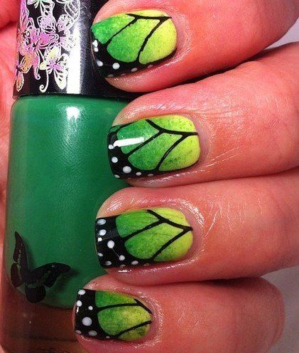 green butterfly wing nails  nail art designs gorgeous