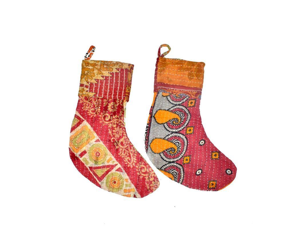 Handmade VIntage Kantha Stocking Indian Christmas Nice Gift Stocking