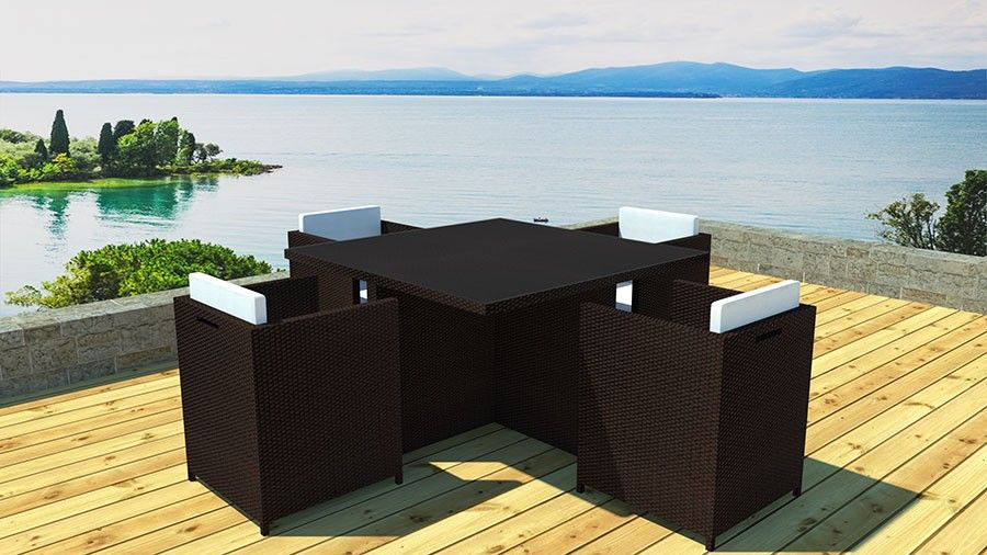 salon de jardin complet en r sine tress e marron hector. Black Bedroom Furniture Sets. Home Design Ideas