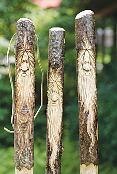 Walking sticks by Allen Goodman, a Woodcarving instructor at the John C. Campbell Folk School | folkschool.org