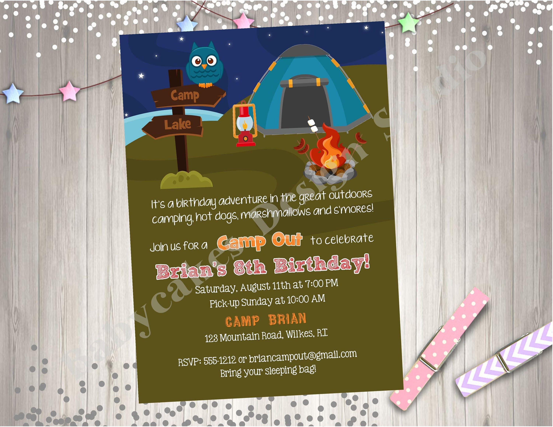 Camping Birthday Invitation Invite Boy Campfire
