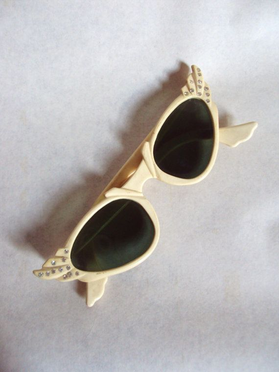 1950s Art Deco style cream lucite sunglasses with rhinestones