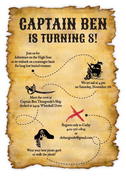 7 Days To Die Taylor's Treasure Map : taylor's, treasure, Treasure, Invitation, Birthday, Party,, Party, Invitations,, Pirate, Themed