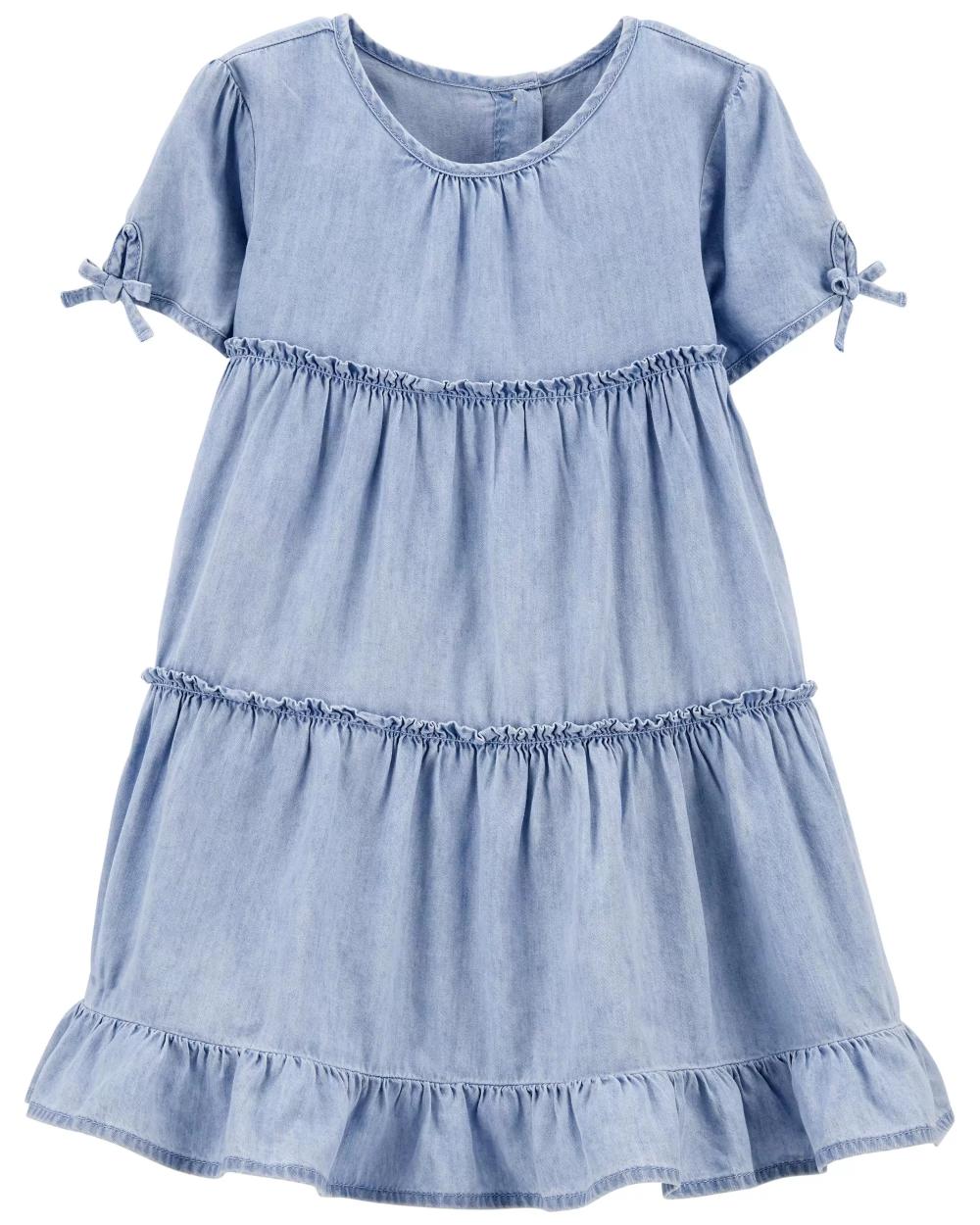Tiered Ruffle Denim Dress In 2021 Denim Ruffle Dress Girls Jean Dress Americana Dress [ 1250 x 1000 Pixel ]