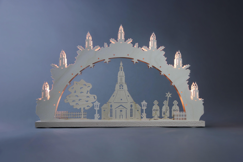 Schwibbogen 7 flg seiffener kirche traditionelle - Fensterbeleuchtung weihnachten ...