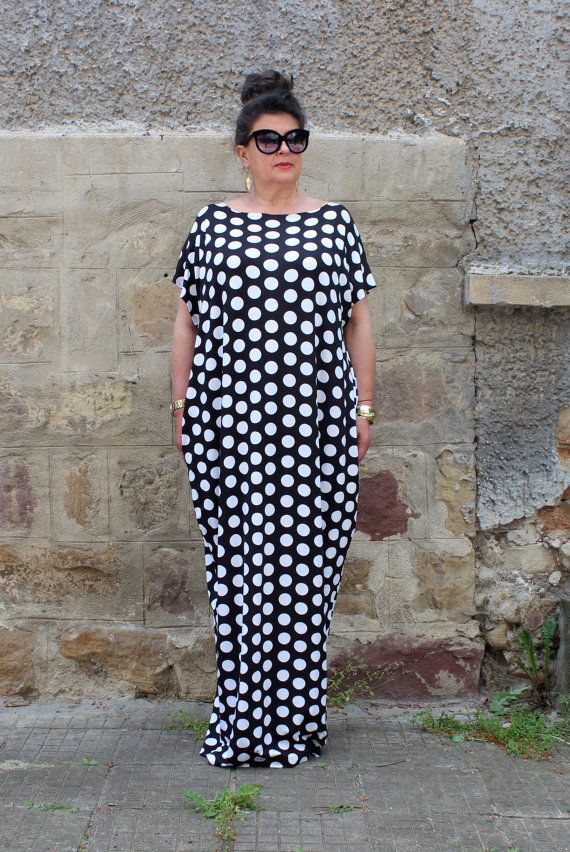 Black and white Polka dot dress Plus size dress Maxi Dress | PLUS ...