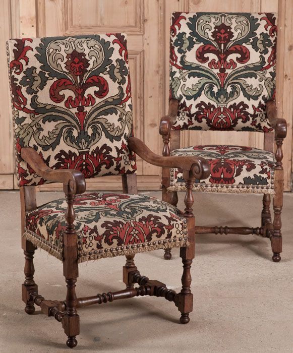 pair antique louis xiv tapestry armchairs antique armchairs
