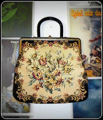 Vintage Gobelin Tasche Stickerei 50er Abendtasche Handtasche 50s Blumen Boho | eBay