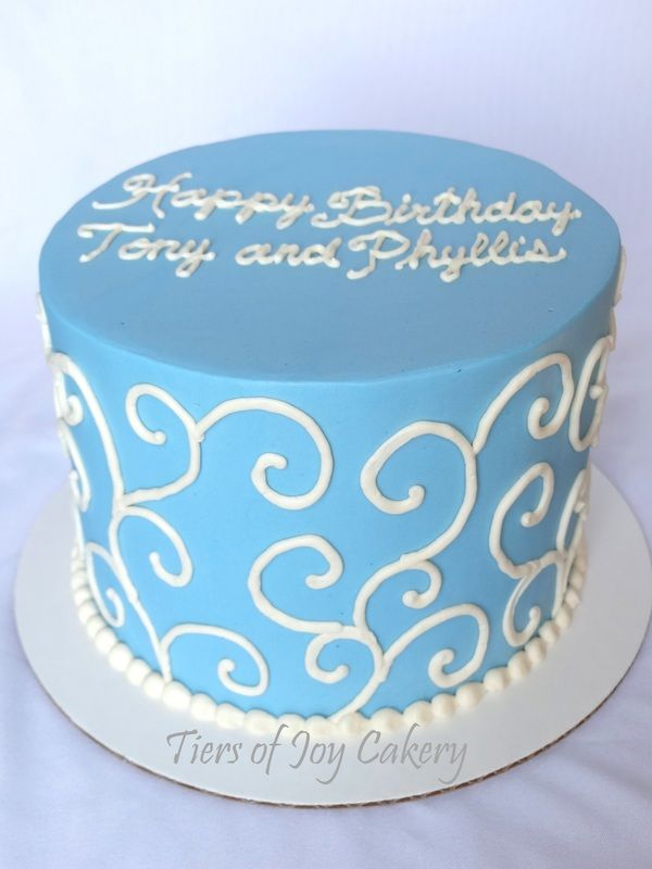 Sky Blue Birthday Cake With Buttercream Scrolls Celebration Cakes