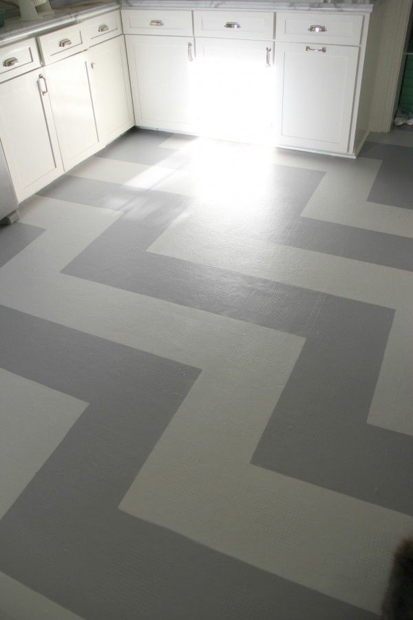 MONDAY MAKEOVER – PAINTED VINYL KITCHEN FLOOR | For the Home ...