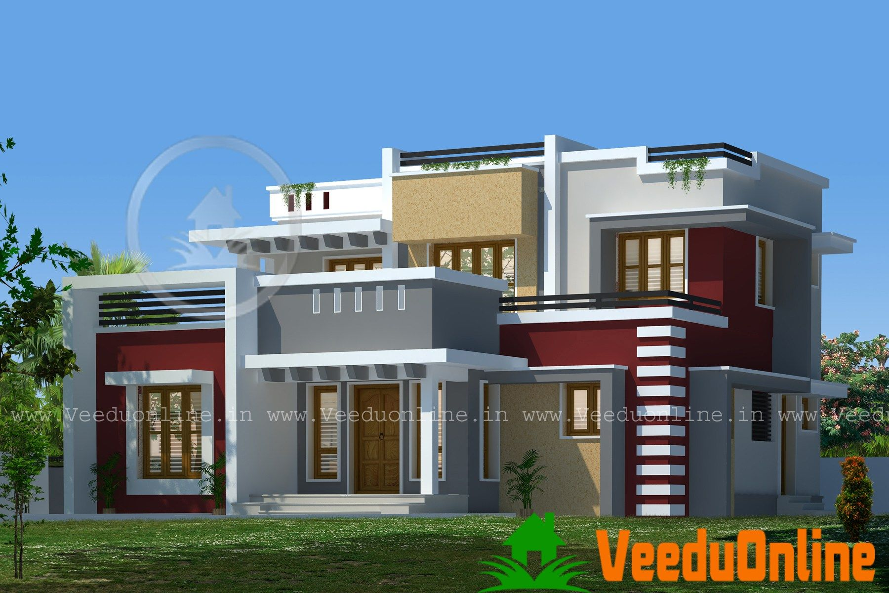 Sq ft nice contemporary house kerala home design floor for Nice modern house plans