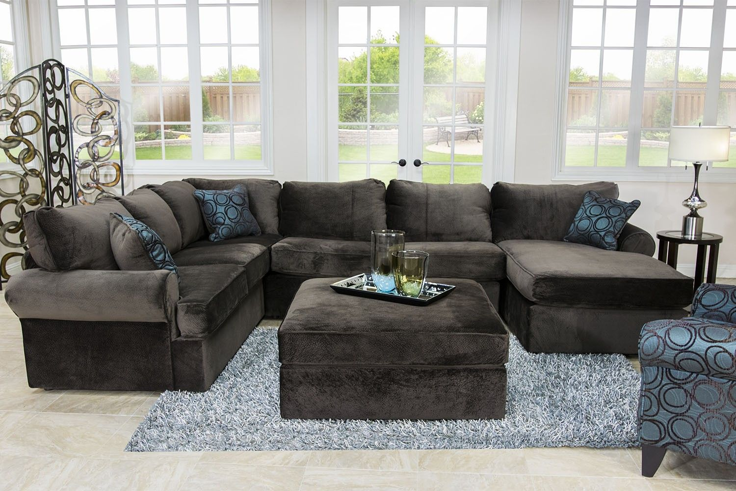 set sectional living sets modular piece fabric room leyla blue youtube watch