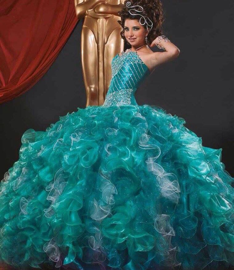 Vestido Xv Azul Turquesa Vestidos Xv Vestidos Y Turquesa