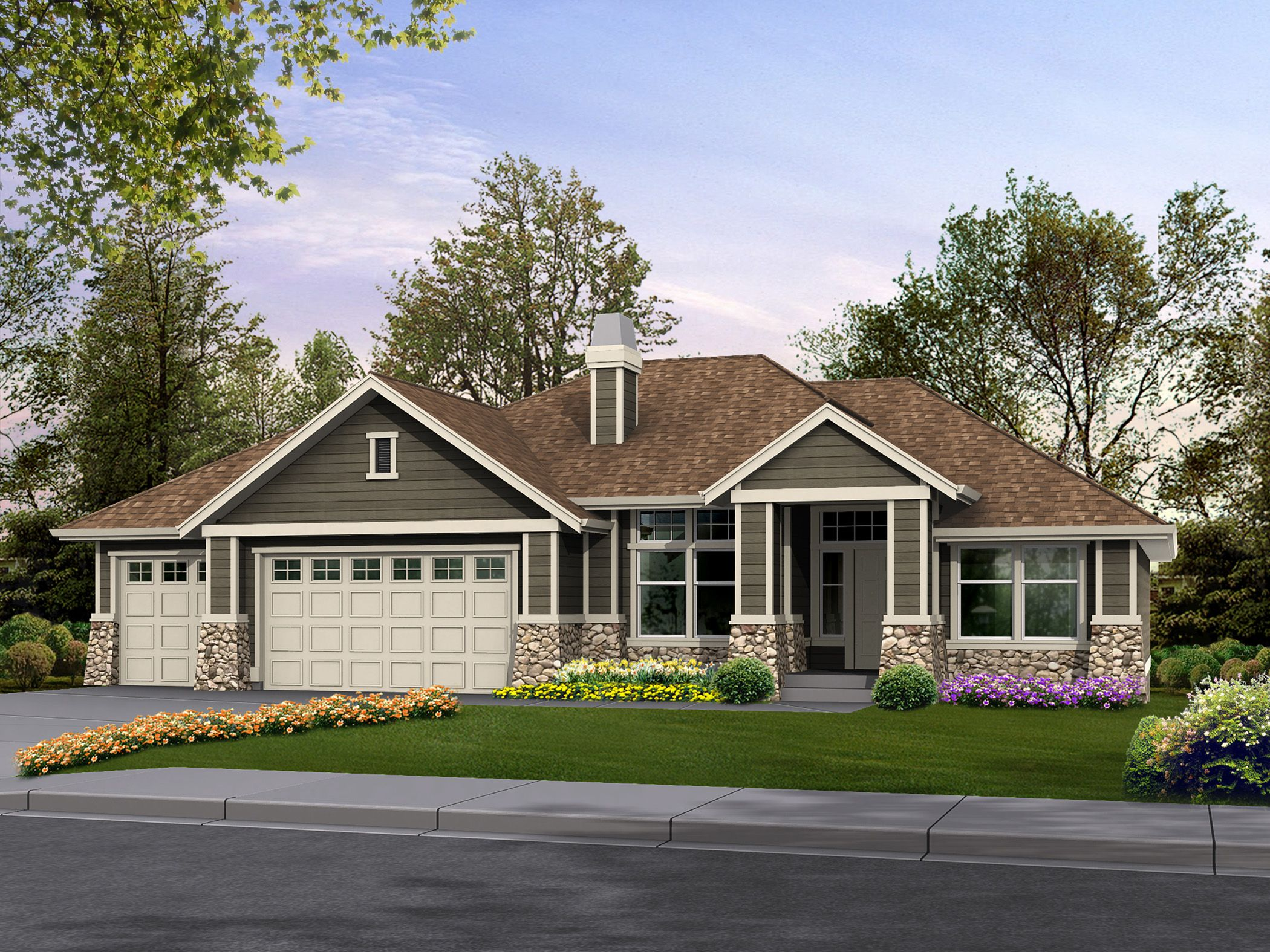 Plan 23234jd Classic Rambler Perfect For Family Living Craftsman Style House Plans Craftsman House Rambler House Plans