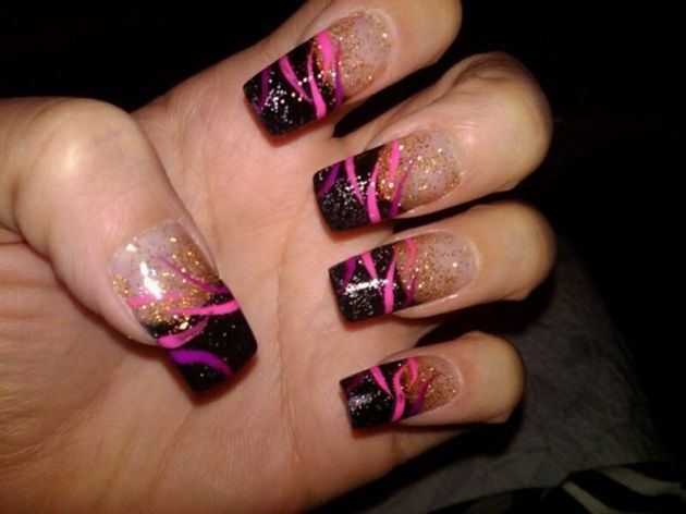 nail designs | black and pink nails Latest Trend Of Pink Nail Art Designs - Nail Designs Black And Pink Nails Latest Trend Of Pink Nail Art