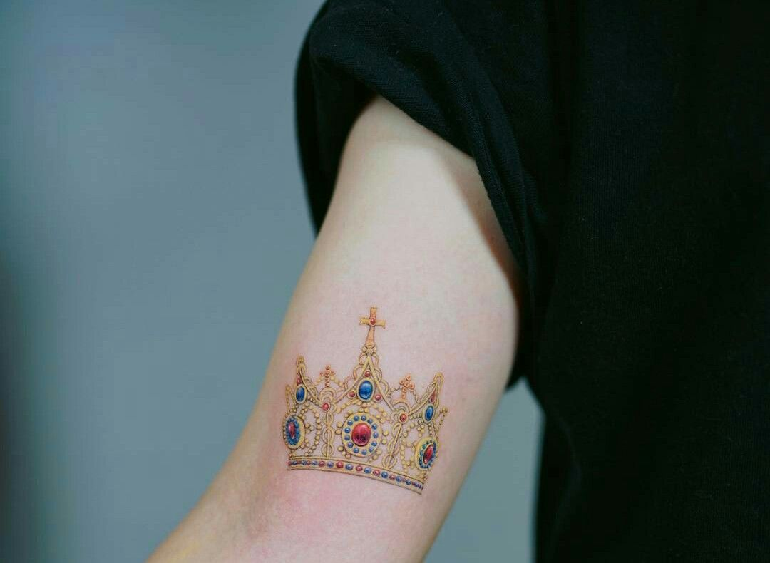 Crown tattoo color yellow beautifully done yellow