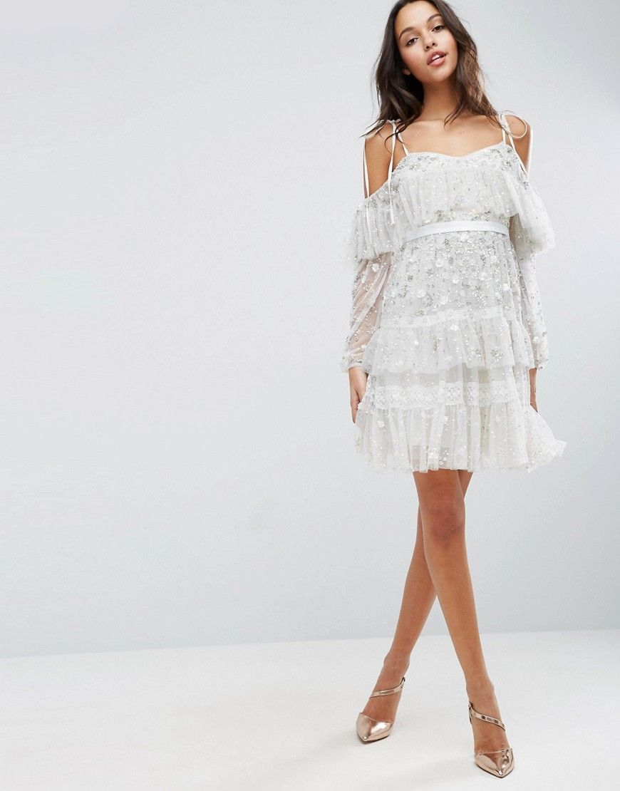 Needle & Thread Supernova Frill Dress With Cold Shoulder Detail ...