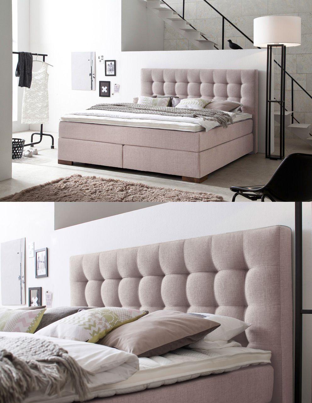 Romantisches schlafzimmer interieur boxspringbett areo  mit diesem boxspringbett in pastellrosé zieht