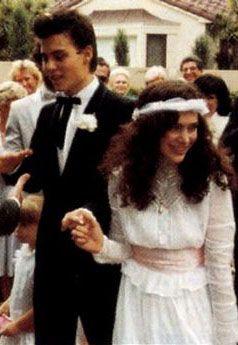 Actor Johnny Depp At 23 Married Makeup Artist Lori Ann Allison 1983 1986 Celebrity Wedding Photos Johnny Depp Celebrity Weddings