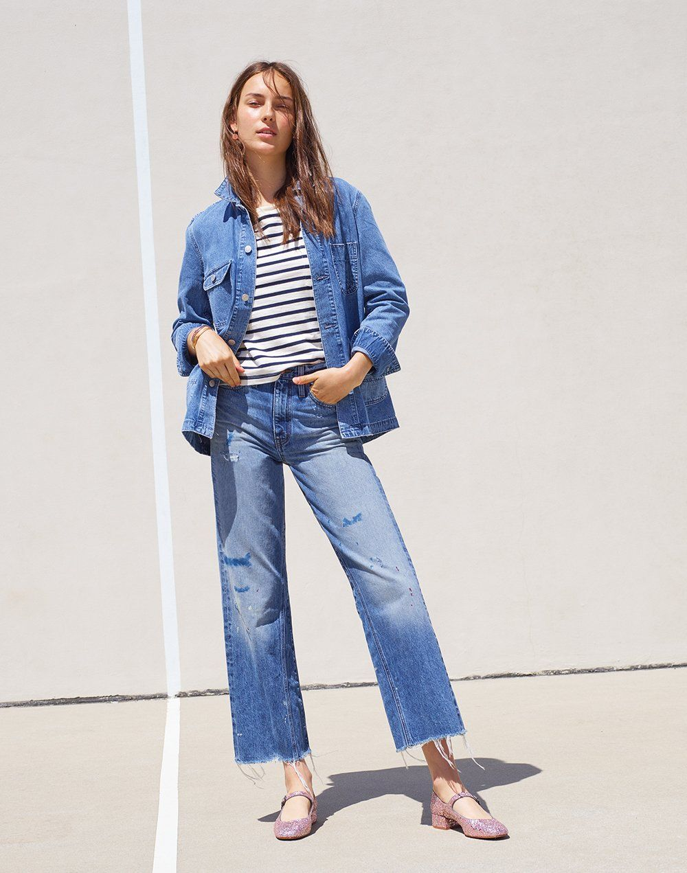 fa278641a3 madewell rivet   thread wide-leg crop jeans worn with selvedge denim chore  coat