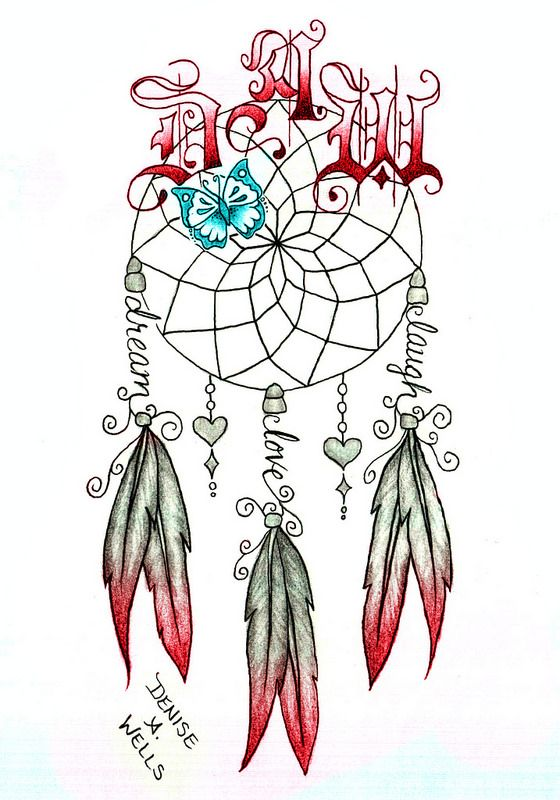 Dream Catcher Tattoo With Names Impressive Dream Catcher Tattoo By Denise A Wells Tattoo Designs By Denise A