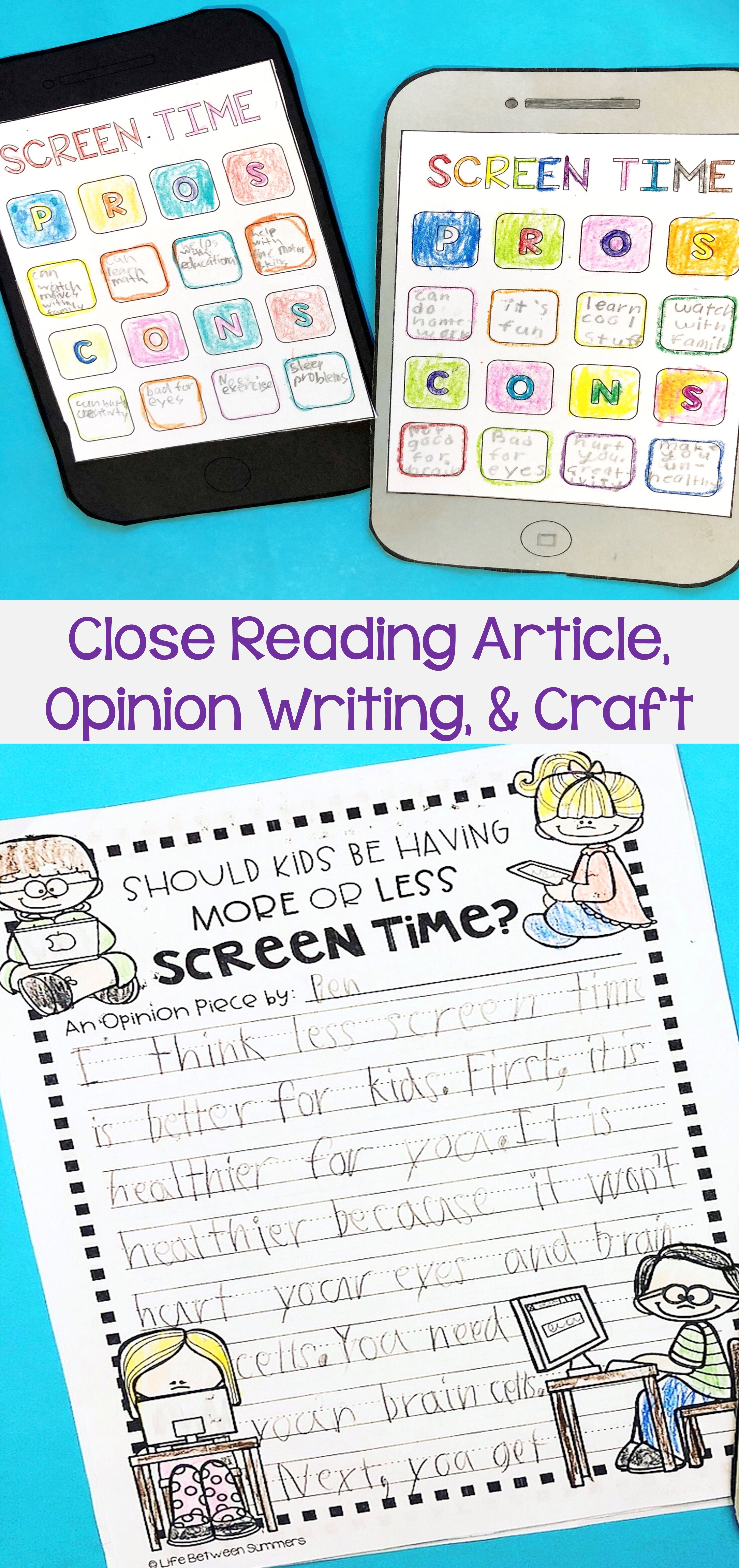 A relevant opinion writing topic for students! They do a close reading of an article about the pros and cons of screen time, write an opinion paragraph, and create an iPhone craft. Not only great reading comprehension and writing practice, but also  educates them about how  screen time can effect their own lives.