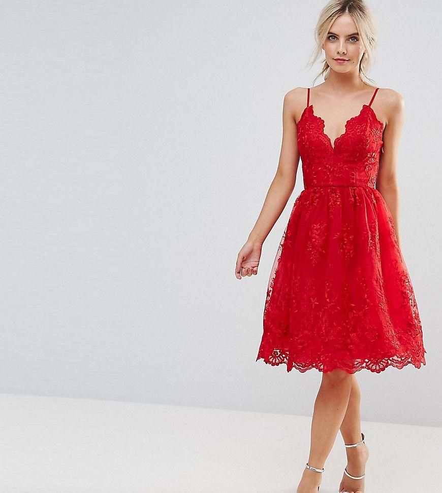 Chi Chi London Petite Premium Scalloped Lace Midi Dress Red Lace Midi Dress Dresses Red Midi Dress